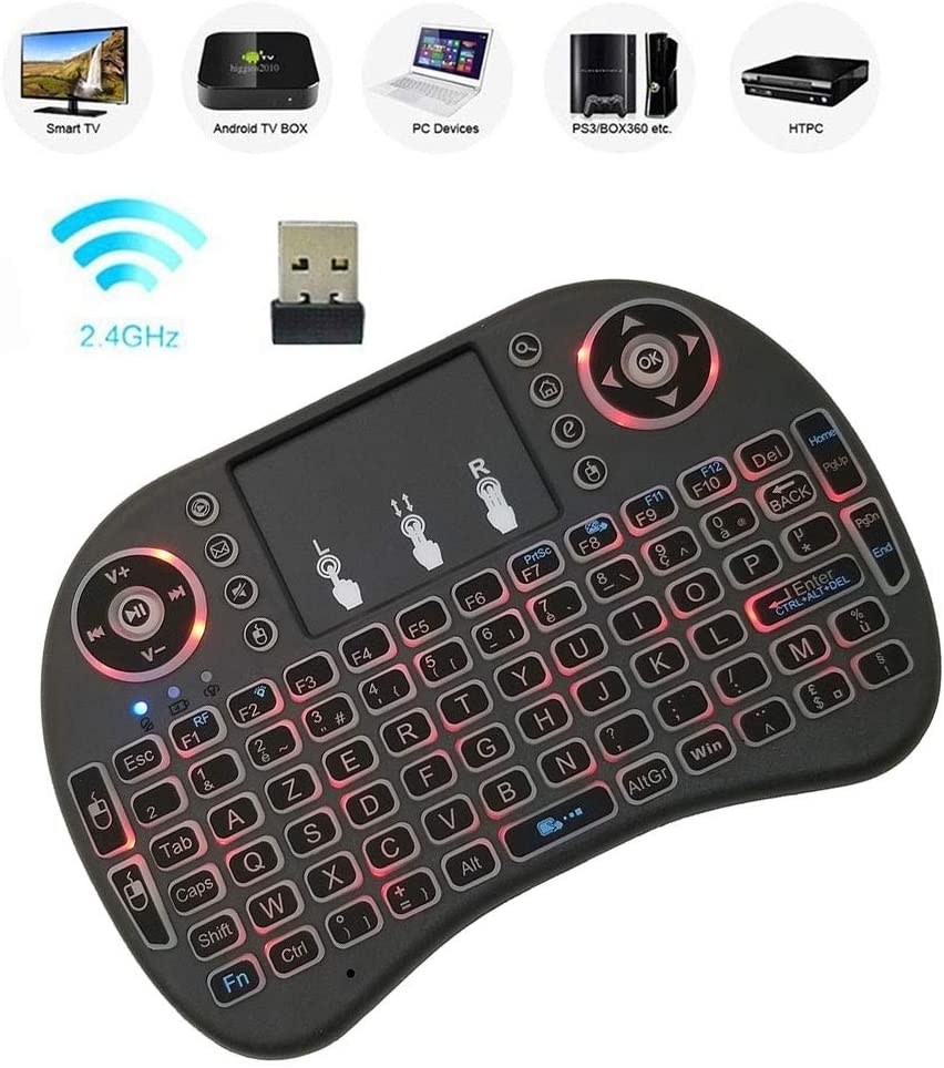 French i8 Air Mouse Wireless Backlight Keyboard with Touchpad for Android TV Box /& Smart TV /& PC Tablet /& Xbox360 /& PS3 /& HTPC//IPTV Support Language