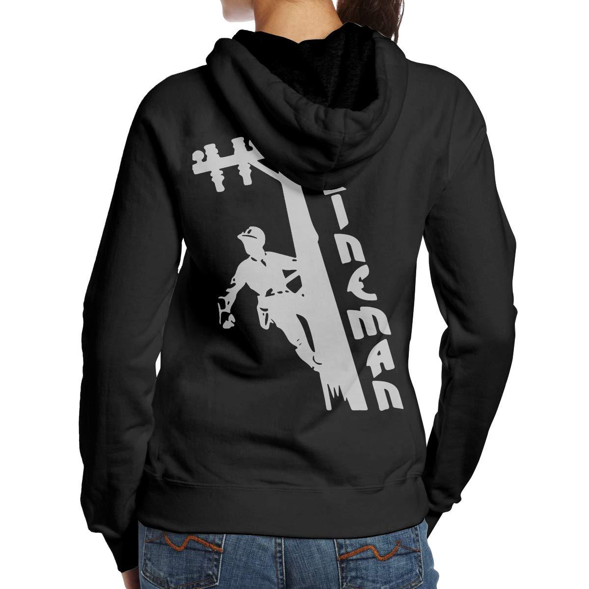 Back Print I Love My Lineman Womens Pullover Hoodie