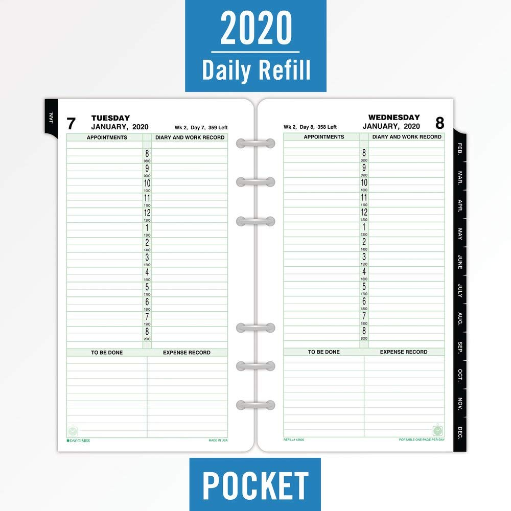 "Day-Timer 2020 Daily Planner Refill, One Page Per Day, 5-1/2"" x 8-1/2"