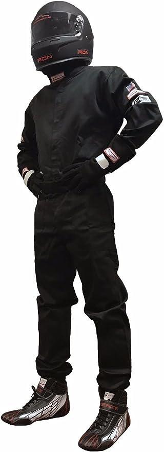 RACERDIRECT.NET SFI 3.2A//1 Single Layer 1 Piece FR Cotton Suit JR Size 8//10 Black