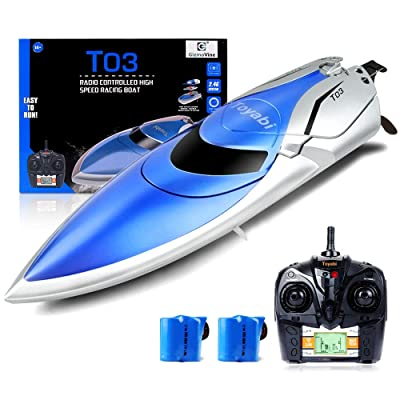 GizmoVine RC Boat High Speed (20MPH+) Remote Control Boats for Pools and Lakes with Extra Battery for Kids and Adults, 2020 Update Version (H106): Toys & Games