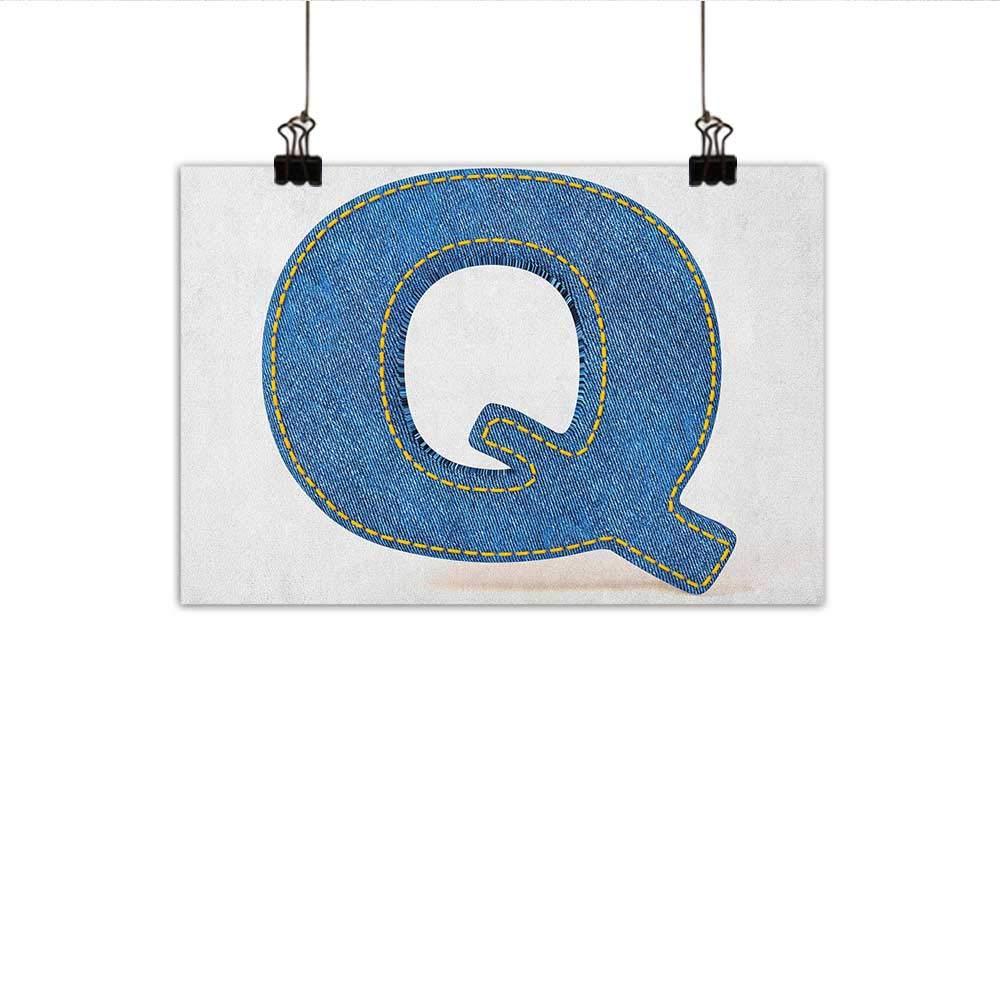 Q 文字ウォールアートデコ ポスター ペイント カラフル レトロ 装飾 エスニック ネイティブスタイル Q レター ネーム アイコン シンボル イメージ プリント デコレーション ホームデコ 20インチx16インチ マルチカラー 35