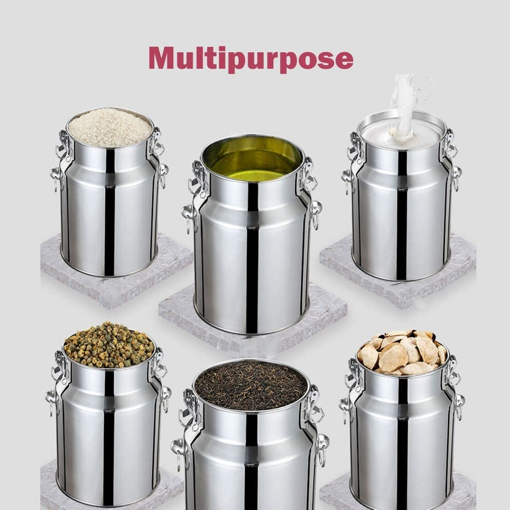 UCYG Stainless Steel Airtight Canister Grain Tissue for Flour Snacks and Storage of Sugar Cereal Large-capacity Sealed Can With Lid for Kitchen Rice Box Color : Silver, Size : 18L