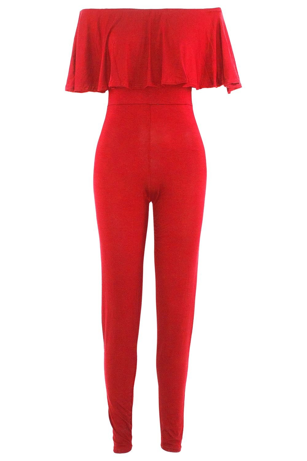 Be Jealous Womens Ladies Peplum Frill Off The Shoulder All In One Bardot Jumpsuit Playsuit UK Plus Size 8-22
