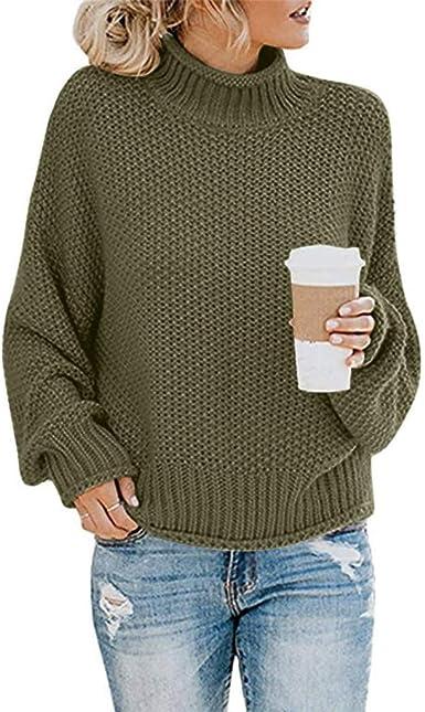 SANFASHION 2020 Printemps Hiver Chic Pull Femmes Tops Shirt Sweater Chandail Pullover Hiver, Pull Unie Col Roulé Lâche Blouse Tricoté Chaud Manche