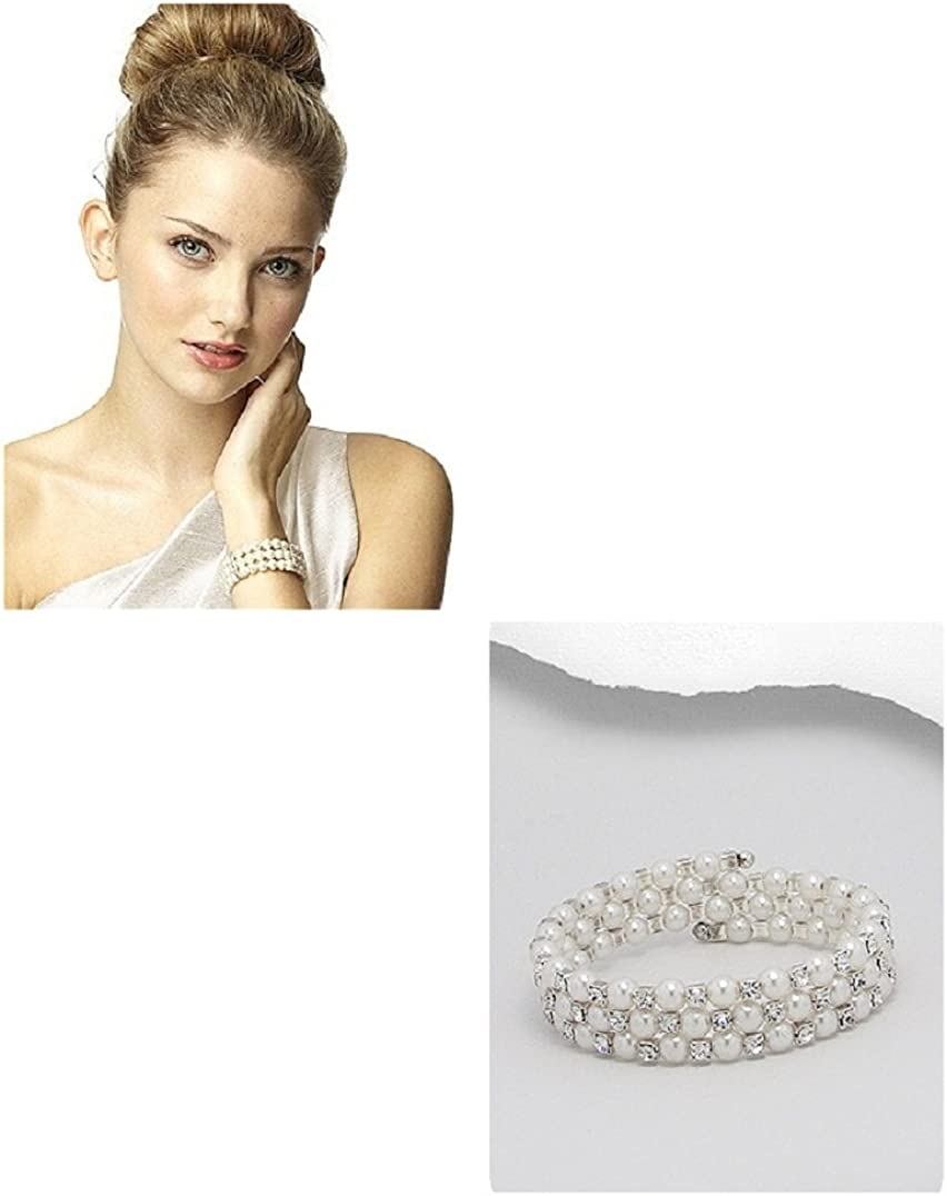 #161 Jewels of Thailand White Pearl and Crystal Spiral Cuff Bracelet Adult Sized Boxed Ships from Pennsylvania