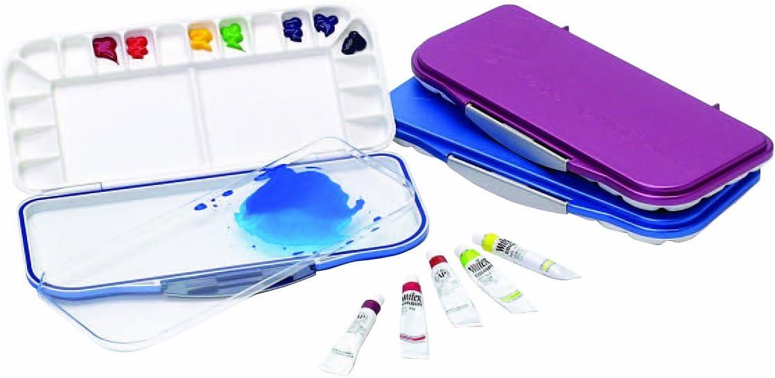 Paleta plástica con tapa para acuarelas violeta o azul