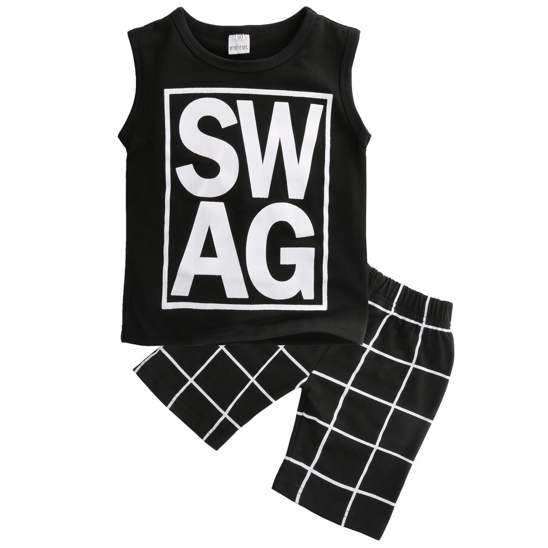 Little Boys Sleeveless Letters Print Tank Top and Lattice Shorts Outfit (120(4-5Y))