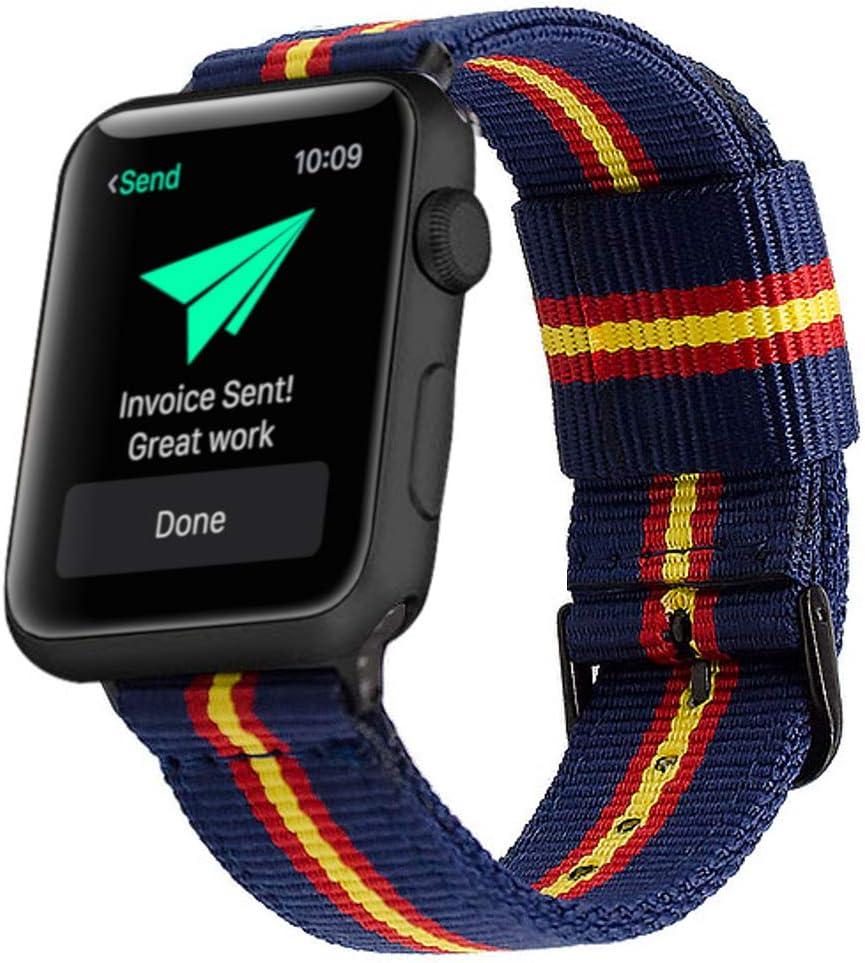 Estuyoya - Pulsera de Nailon Compatible con Apple Watch Colores Bandera de España, Ajustable Reemplazo Estilo Deportiva Casual Elegante para 42mm 44mm Series 5/4 / 3/2 / 1 Nike+ - OTAN