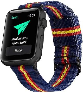 Estuyoya - Pulsera de Nailon Compatible con Apple Watch Colores Bandera de España, Ajustable Reemplazo Estilo Deportiva Casual Elegante para 42mm 44mm Series 6/5 / 4/3 / 2/1 / SE/Nike+: Amazon.es: Electrónica