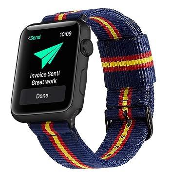 Estuyoya - Pulsera de Nylon Compatible con Apple Watch Colores Bandera de España, Ajustable Reemplazo Estilo Deportiva, Casual Elegante para 42mm 44mm ...