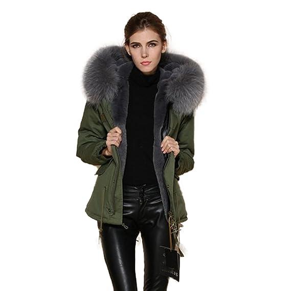 Parka con cuello extragrande de pelo 100% auténtico, abrigo en color caqui y gris: Amazon.es: Ropa y accesorios