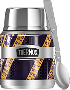 LSU Tigers, Spirit Diagonal Stripes THERMOS STAINLESS KING Stainless Steel Food Jar with Folding Spoon, Vacuum insulated & Double Wall, 16oz