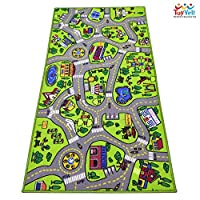 "ToyVelt Kids Carpet Playmat Car Rug - City Life Educational Road Traffic Carpet Multi Color Play Mat - Large 60"" x 32"" Best Kids Rugs for Playroom & Kid Bedroom - for Ages 3-12 Years Old"