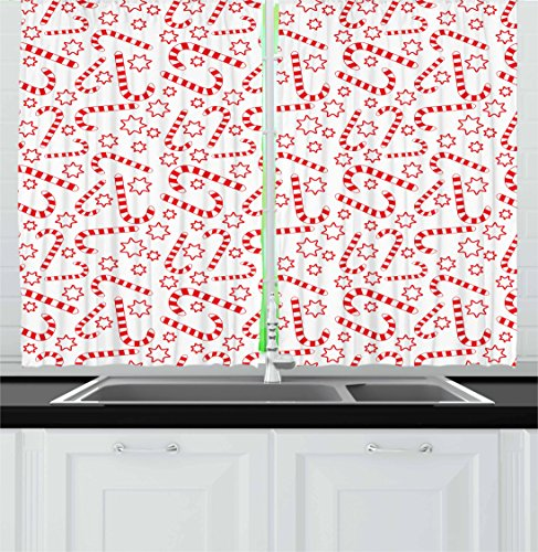 Ambesonne Candy Cane Kitchen Curtains, Illustration of Xmas