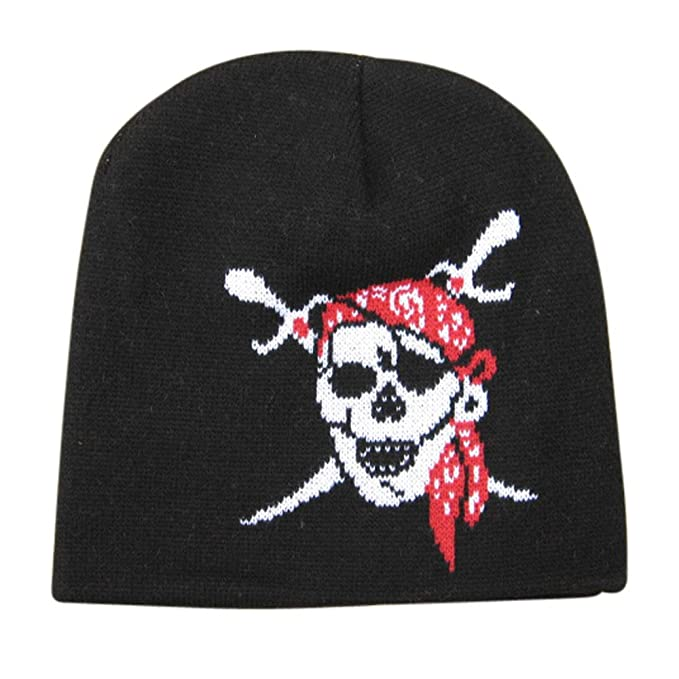 3a333dc57 Tagwagger Halloween Pirate Skull Beanie Hat with Eye Patch Unisex at ...