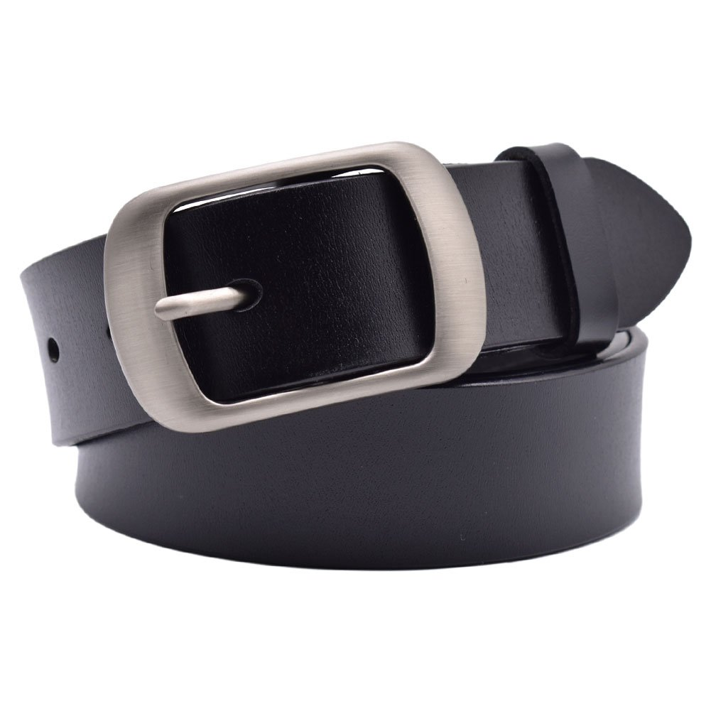 Vonsely Soft Wide Leather Belt for Jeans Shorts, Classic Plain Pattern Trousers Leather Belt with Metal Buckle, Black Belt 105CM