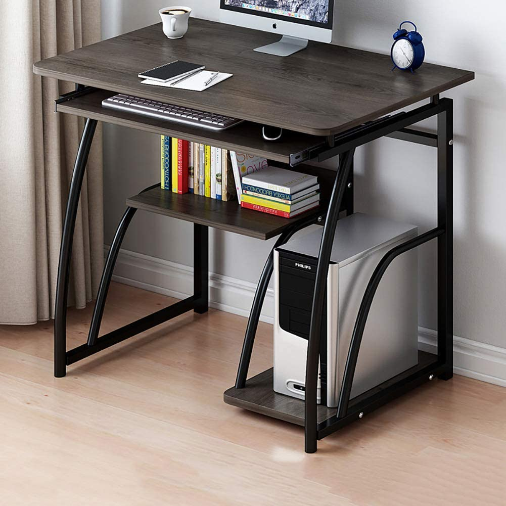 Computer Desk PC Laptop Table Workstation with Storage Shelves,Compact Home Office Desk with Pullout Keyboard Tray for Small Place