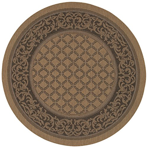 Couristan Cocoa Garden Lattice (Couristan 1016/2000 Recife Garden Lattice Cocoa/Black Rug, 7-Feet 6-Inch Round)