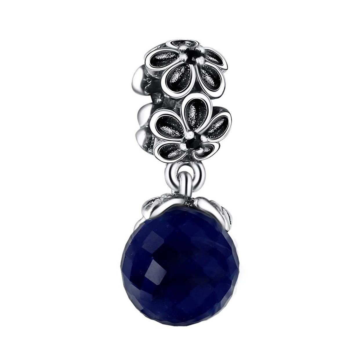 925 Sterling Silver Charms Blue Crystal Flower Pendant European Charm Fit Bracelet Bangle DIY Jewelry Fine Making