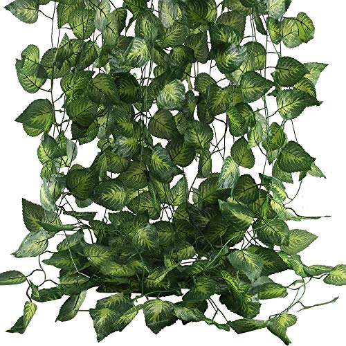 (MHMJON Fake Vines, 12 Pack 83 Ft Artificial Hanging Vines Plants Faux Silk Greenery Grape Leaf Garland for Wedding Party Home Office Garden Outdoor Wall Decoration )