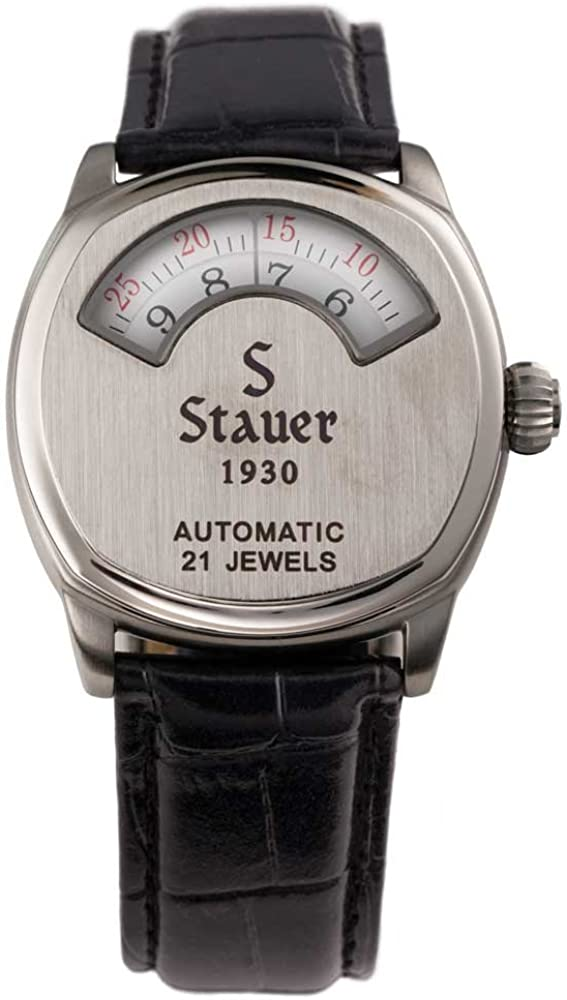 Stauer Men s Automatic Movement 1930 Dashtronic Watch with Genuine Black Leather Band