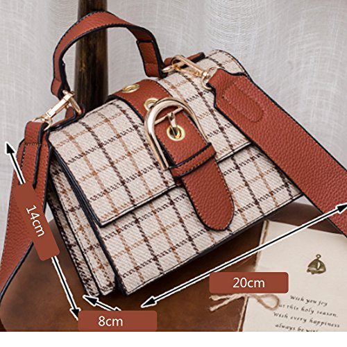 20Cm Plaid Messenger 14Cm Tote Bag 8Cm Ladies Bag Shoulder wzUS1qnZn