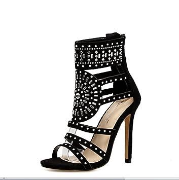 ... Discoteca Sexy Tacones Altos Zapatos De Roma Rhinestone Tacón Alto Fina  con Sandalias De Punta Abierta Botas De Verano para MujerXIAOQI  Amazon.es   ... 3495c4c45317