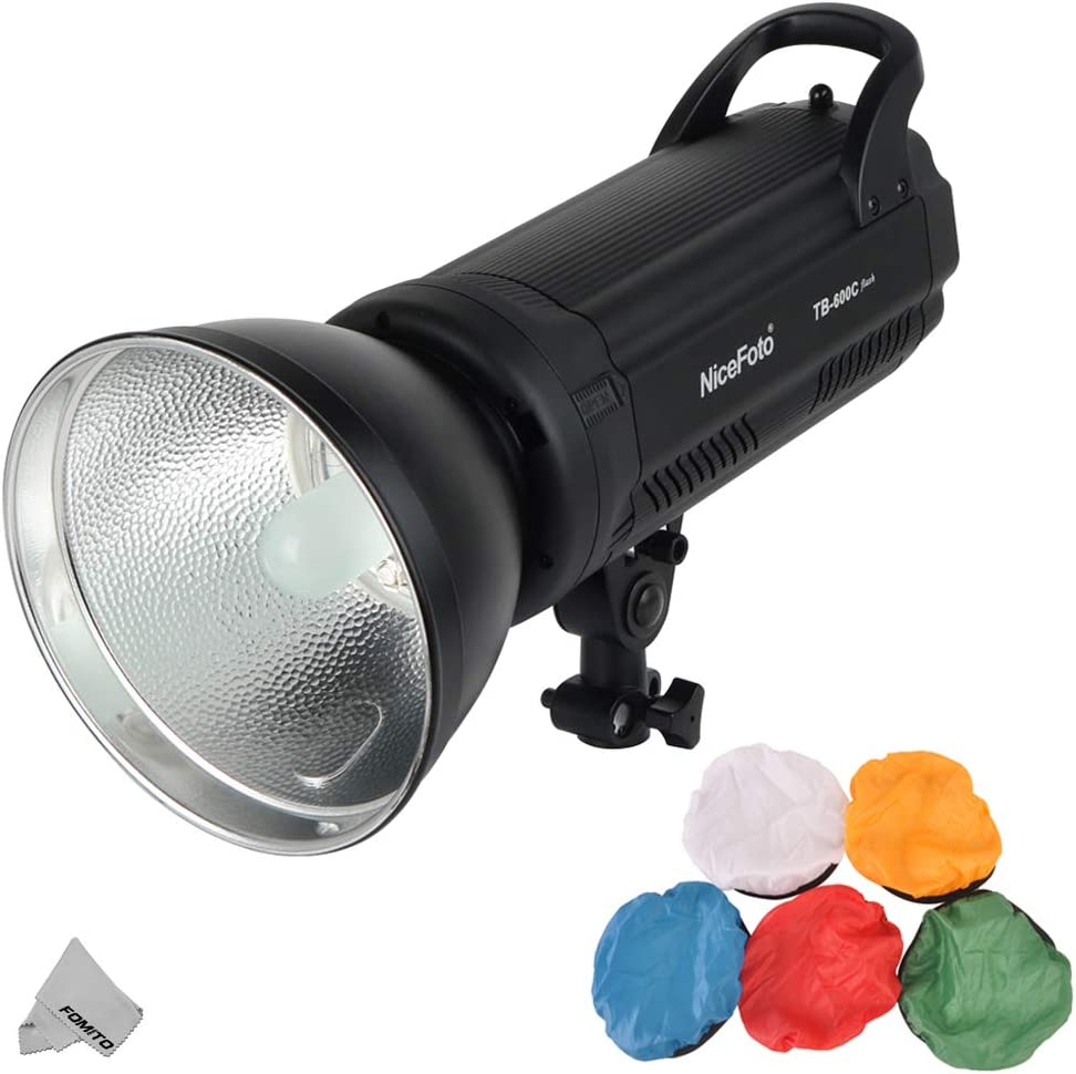 Nicefoto TB-600C 600W Compact Studio Flash Light Strobe Lighting Lamp Head Fast Recycle Time 0.1-1.2s LED Display for Studio Photography