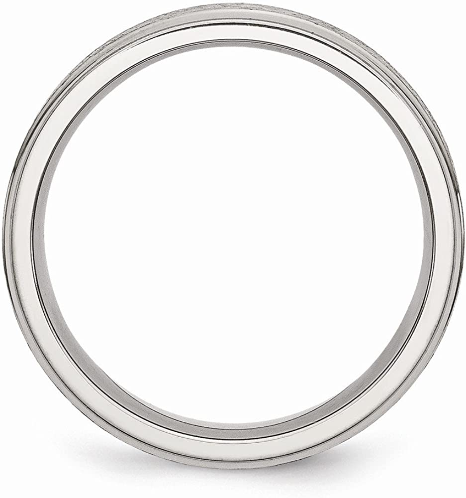 Wedding Bands Classic Bands Flat Bands w//Edge Stainless Steel Ridged Edge 6mm Satin and Polished Band Size 12