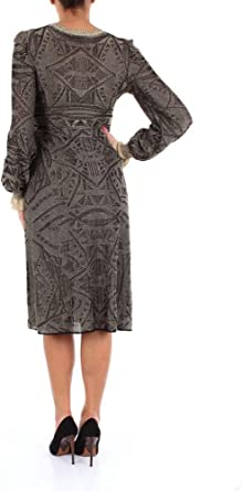 Alberta Ferretti Luxury Fashion Damska 04905108NEROEORO Schwarz Viskose Kleid   Jahreszeit Outlet: ALBERTA FERRETTI: Odzież