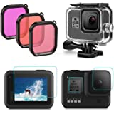 Fstop Labs Housing Case Filter Kit for GoPro Hero 8 Black, Waterproof Case Diving Protective Housing Case + 3 Pack Filter + 4 Pack Ultra Clear Tempered Glass Screen Protectors