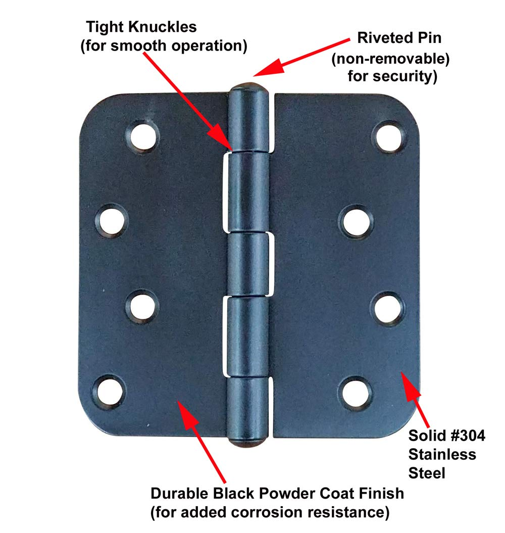 4 Inch Black Stainless Steel Hinges with 5//8 inch Radius Corners 3 Pack