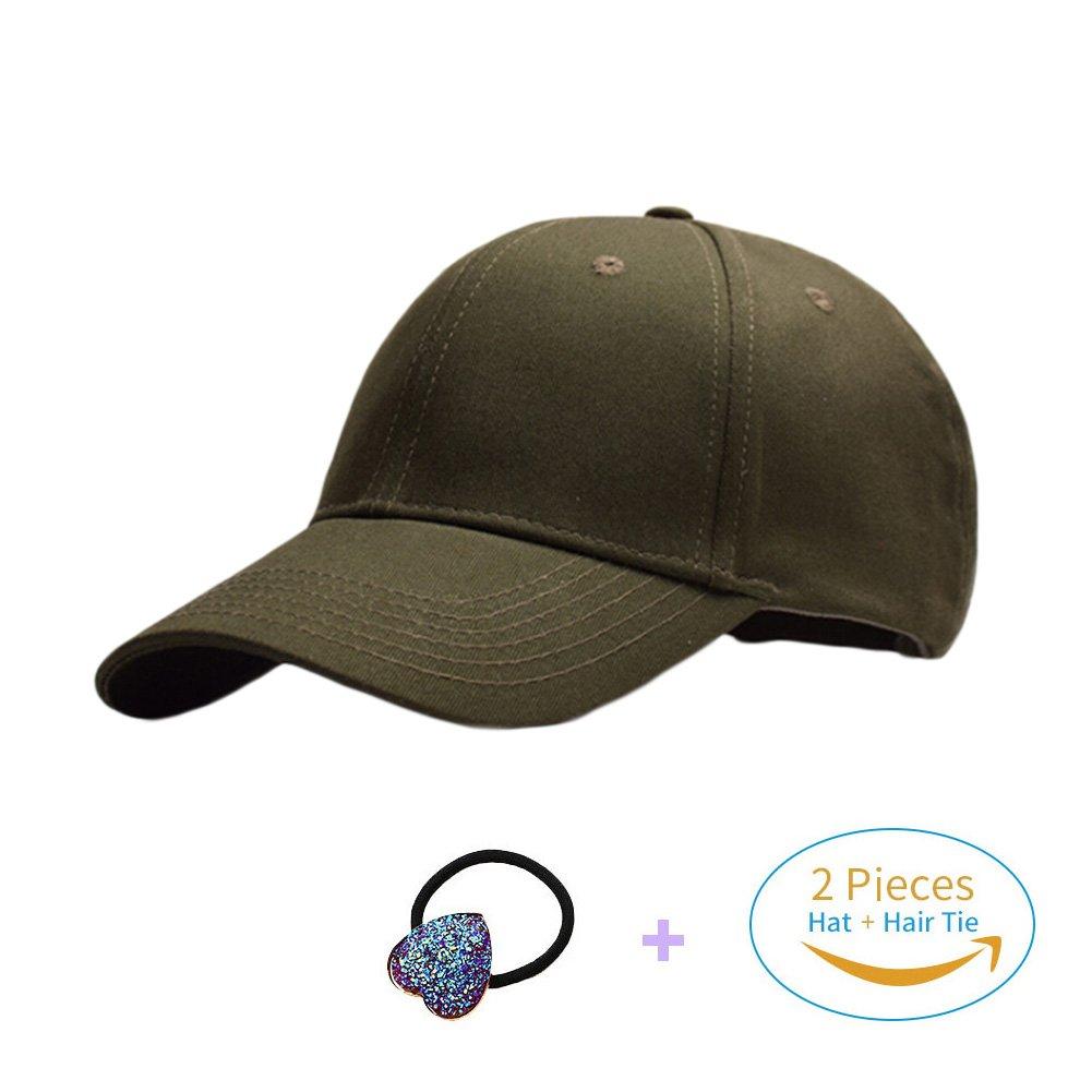 Amazon.com  HADM Cotton Glitter Baseball Cap High Messy Bun Ponytail Mesh  Visor Cap Hats for Women  Clothing 31c10930d02e