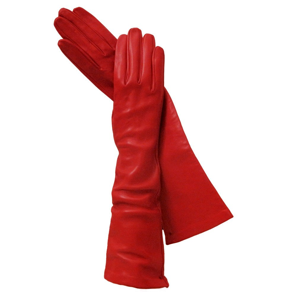 Long Italian Leather Gloves. Lined in Silk. 8''. By Solo Classe (7 1/2, Ferrari Red)