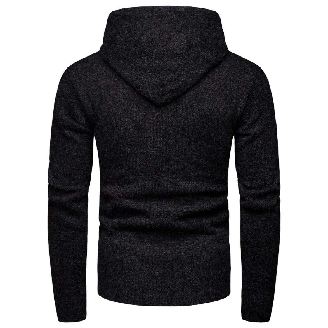 Hoodies with Front Large Pocket for Men Long Sleeve Pure Color Slim-Fit Winter Coat Rain Season Basic Shirts