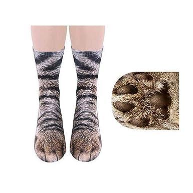 Naisicatar 1 Patrón pareja creativa 3D patas Impresión animal del regalo del gato Calcetines unisex divertido del adulto algodón Calcetines de invierno: ...
