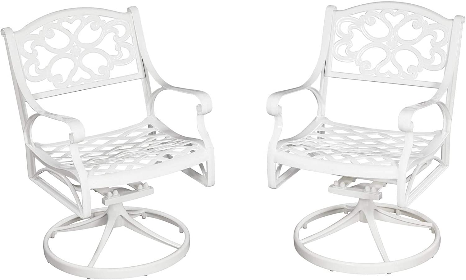homestyles 6652-53 Outdoor Swivel Rocking Chair, White
