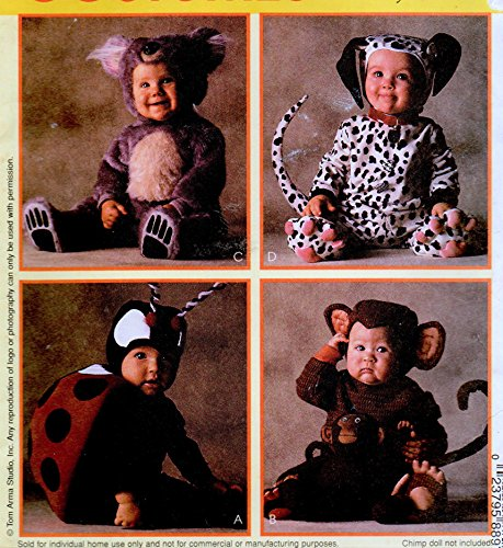 McCall's 8897 Infant/Baby Monkey, Lady Bug, Bear and Dalmatian Costume Sewing Pattern Size 1, Breast 20