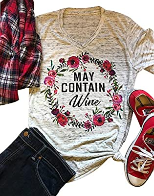 LONBANSTR Women May Contain Wine Letter Print T-Shirt Floral Flower Cute Tops Tee