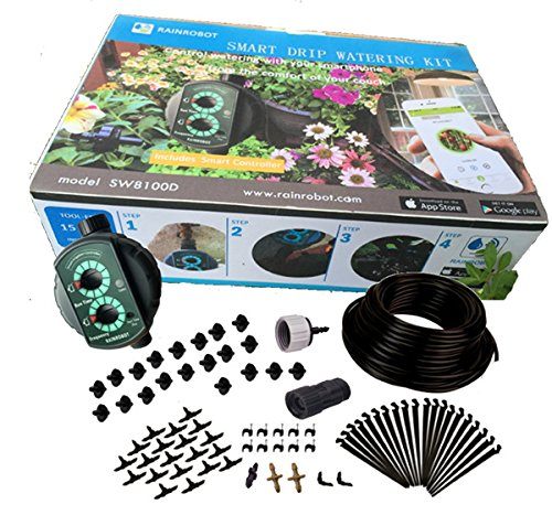 RainRobot SW8100D Smart Drip Irrigation System/Full Kit, for Containers, Hanging Baskets, Flower Beds, Vegetable Gardens ()