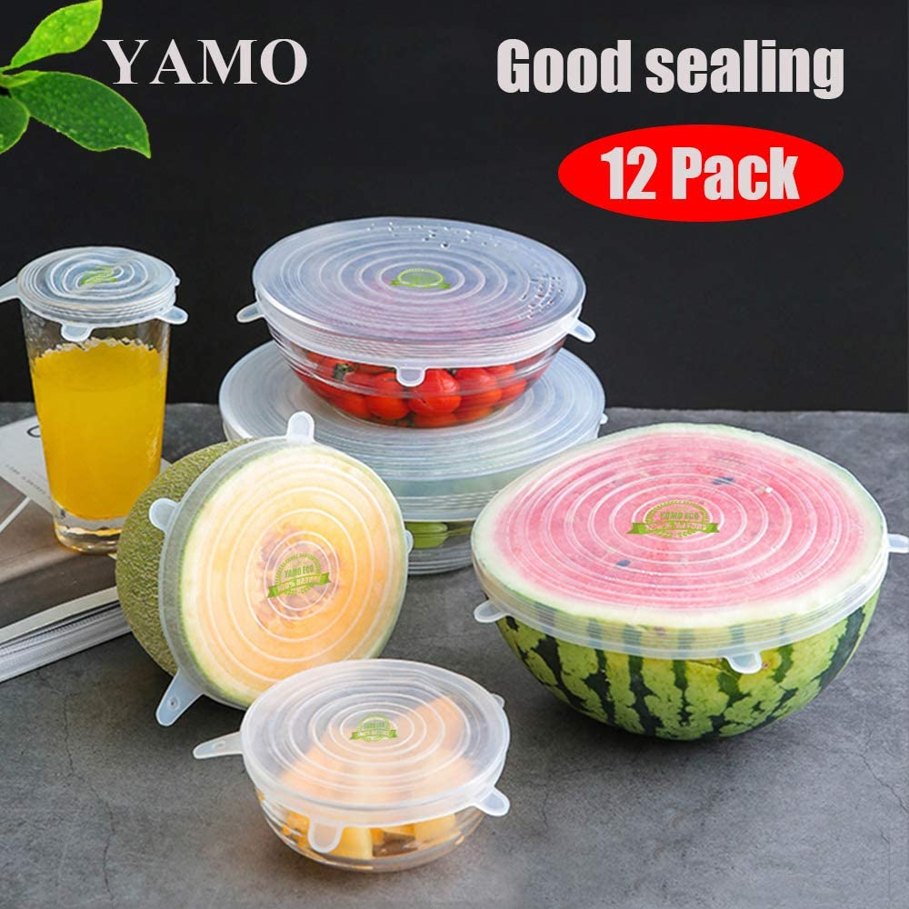 Silicone Stretch Lids, Reusable Food Covers for Bowl Cup, Safe in Microwave Dishwasher Refrigerator, BPA-Free, Durable and Expandable, Fit Different Sizes of Container to Keep Food Fresh, 12pcs