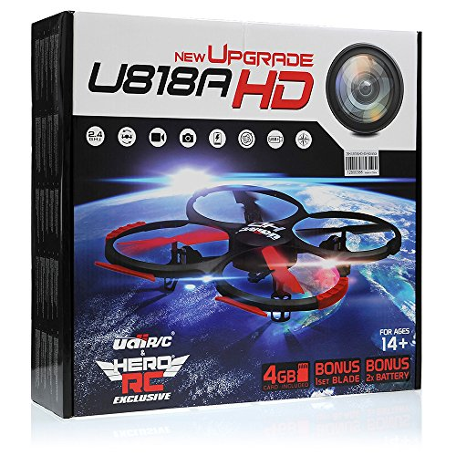 UDI-U818A-HD-RC-Quadcopter-Camera-Drone-UFO-4CH-6-Axis-Gyro-Remote-Control-Drone-24ghz-wHD-Camera-wReturn-Home-Headless-360-Flips-w4GB-card3Drone-BatteryDual-Battery-ChargerExtra-Blades