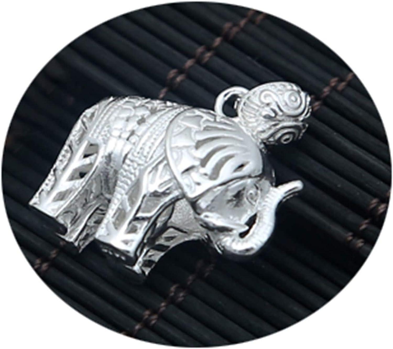 Epinki Plata de Ley 925 Mujer Hombre Collar Elefante Hueco Colgante Budismo Hombre Collar
