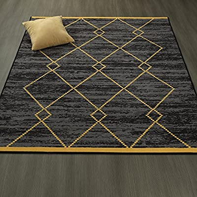 "Ottomanson Studio Collection Diamond Trellis Design Area Rug, 5'0"" X 6'0"", Gray & Yellow - Functional features such as stain-resistance, non-slip rubber back, non-shedding and fade resistant low profile surface pile are brilliantly combined with chic fashionable or traditional designs and elegant colors 