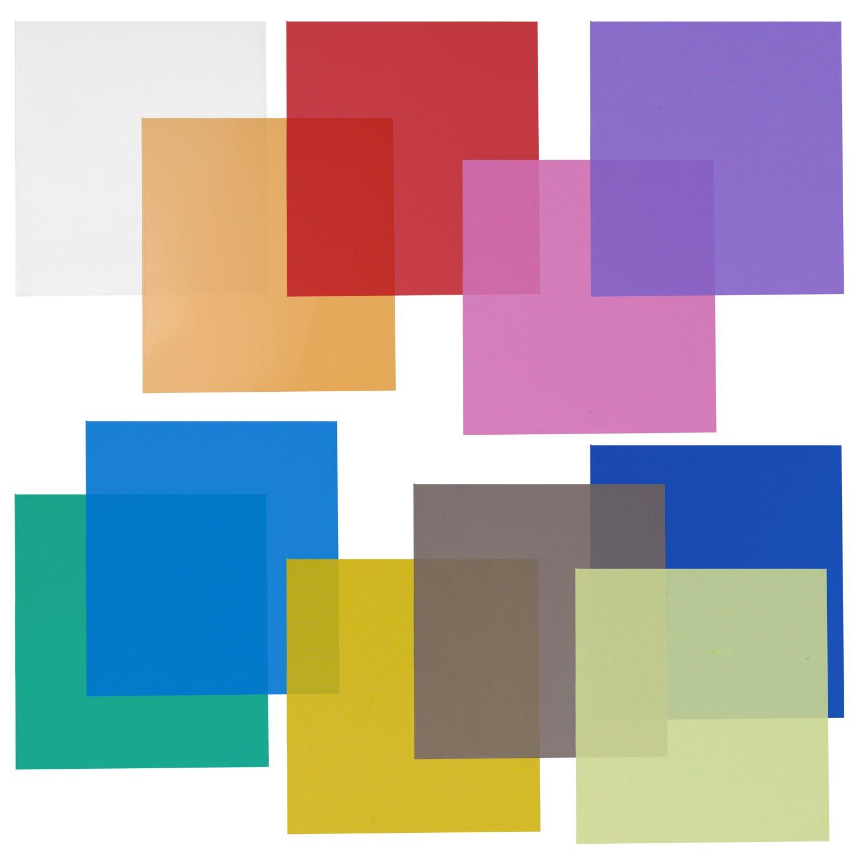 Neewer 12x12' Transparent Color Gel Filter Set Pack of 11 Sheets for Photo Studio Strobe Flashlight(Green, Blue, Purple, Pink, Red, Light Gray, Dark Gray, Yellow, Beige, Fresh Green, Acid Blue) 10087407
