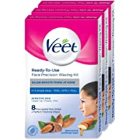 Veet Face Precision Waxing Kit for Upper Lip, Cheeks and Chin - 8 Strips (Pack of 3)