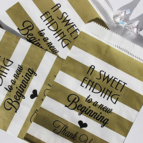 Bakers Bling Wedding Party Favor Bags with Stickers, A Sweet Ending to a New Beginning Gold and White Stripe Candy Bags, 5.5 x 7.5, Set of 48 Bags and 48 Stickers