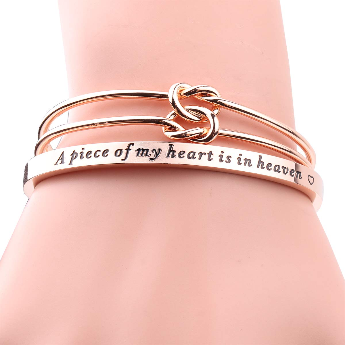 AZFEIYA Memorial Bracelet A Piece of My Heart is in Heaven Cuff Bracelet Miscarriage Bracelet Sympathy Jewelry Gift for Womens