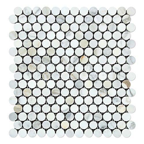 (Calacatta Gold (Italian Calcutta) Marble Penny Round Mosaic Tile, Polished)